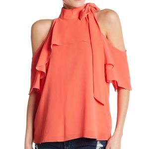 NWT Coral Chiffon Cold Shoulder Tie Blouse